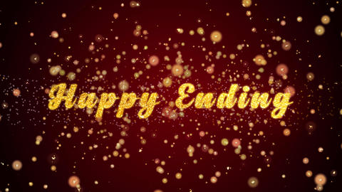 Happy Ending Greeting card text shiny particles for celebration,festival Animation