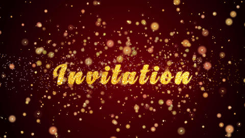 Invitation Greeting card text shiny particles for celebration,festival Animation