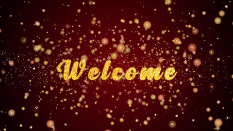 Welcome Greeting card text shiny particles for celebration,festival Animation
