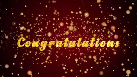 Congratulations Greeting card text shiny particles for celebration,festival Animation