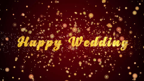 Happy Wedding Greeting card text shiny particles for celebration,festival Animation