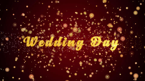 Wedding Day Greeting card text shiny particles for celebration,festival Animation
