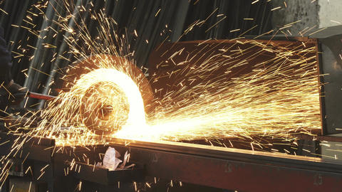 Cropped shot of a metalworker welding steel pipes with sparks flying Live Action