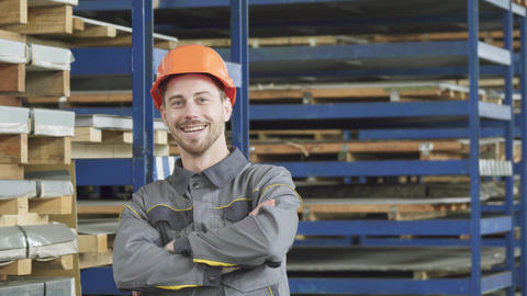 Professional industry worker smiling wearing hardhat… Stock Video Footage