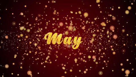 May Greeting card text shiny particles for celebration,festival Animation