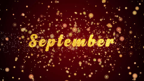 September Greeting card text shiny particles for celebration,festival Animation