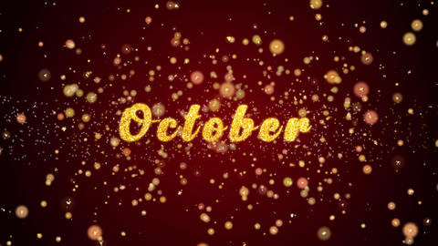 October Greeting card text shiny particles for celebration,festival Animation