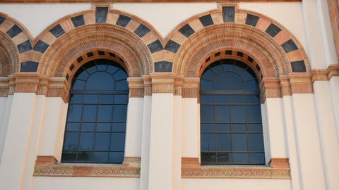 Windows on the facade of the Milan Natural History Museum Stock Video Footage