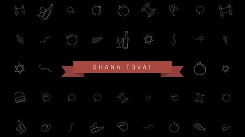 Rosh Hashanah holiday flat design animation background…, Stock Animation