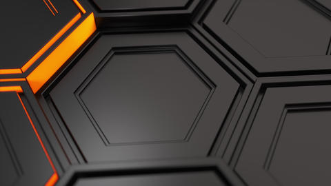 Wall of black hexagons with orange glow Animation