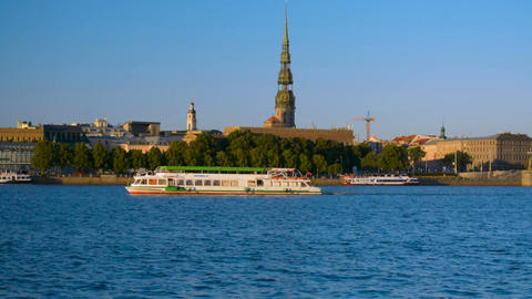 Riga Old Town copyspace panorama background in evening sunset light Footage