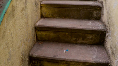 camera moves upstairs, Climbing stairs in empty abandoned…, Live Action