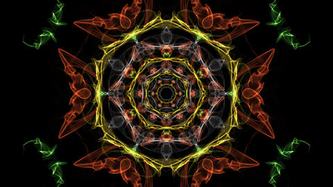 Multicolored fractal in tunnel motion, abstract video in orange, red and yellow Animation