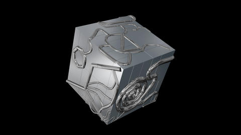 3d geometry rotating techno cube. 3d animation.Black and white alpha Animation