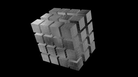 3d geometry rotating techno cubes. 3d animation.Black and white alpha Animation