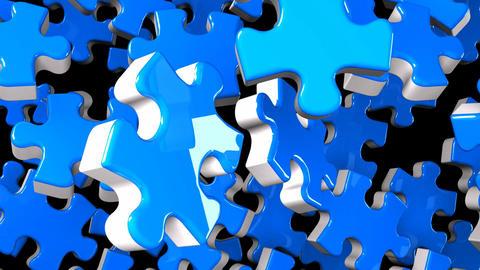 Blue Jigsaw Puzzle On Black Background Animation