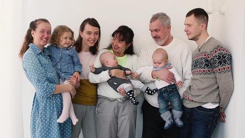 Wonderful portrait of happy family Footage