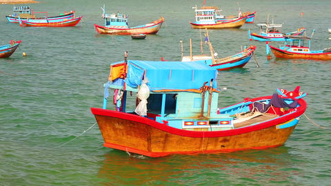 Wooden Fishing Boats Vietnam Stock Footage 영상물