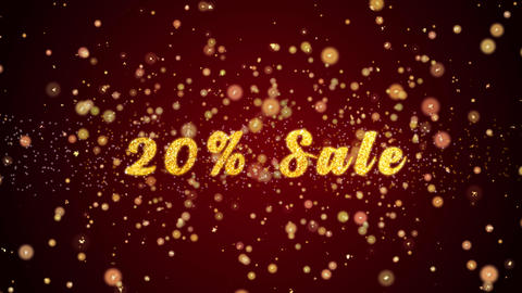 20% Sale Greeting card text shiny particles for celebration,festival Animación