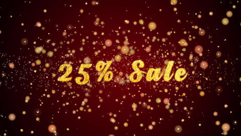 25% Sale Greeting card text shiny particles for celebration,festival Animación