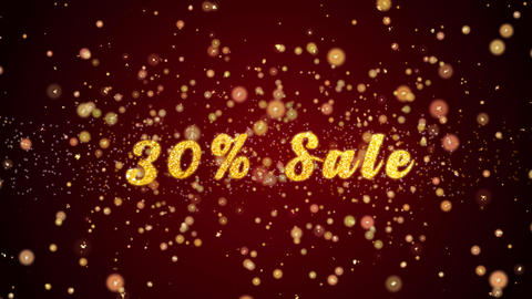 30% Sale Greeting card text shiny particles for celebration,festival Animación