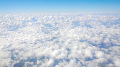 Accumulation of clouds under moving airplane, cloudscape, fulfilling dreams Footage