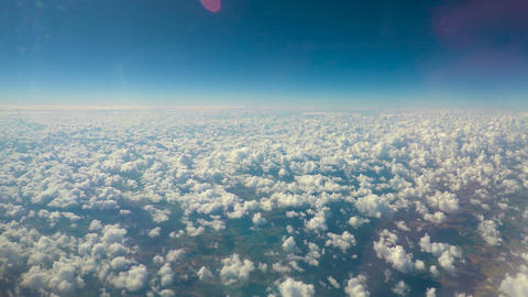 White fluffy clouds floating in sky, limitless possibilities, expanding horizons Footage