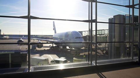 Airliner parked near passenger boarding bridge, comfortable long distance flight Footage