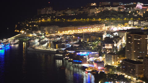 Panoramic view of shining nightlife in Monaco state, high energy consumption Live Action