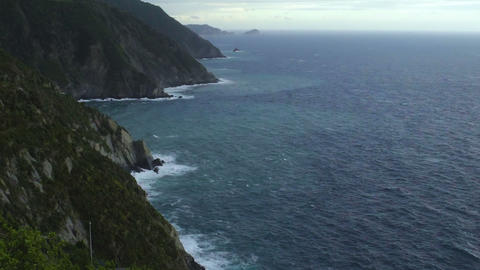 View from Manarola town on Cinque Terre coastline, bad weather, landscape Footage