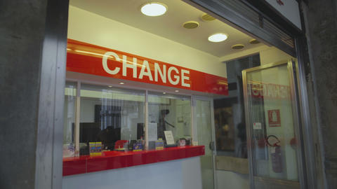 City currency exchange service available for tourists abroad, forex rate growth Footage