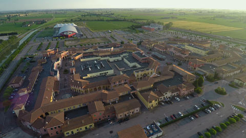 Aerial view of Mantova outlet village, shopping tour to Italy, brands and trends Footage
