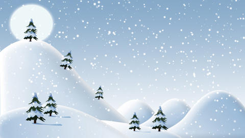 Christmas snow covered hills with trees day Animación