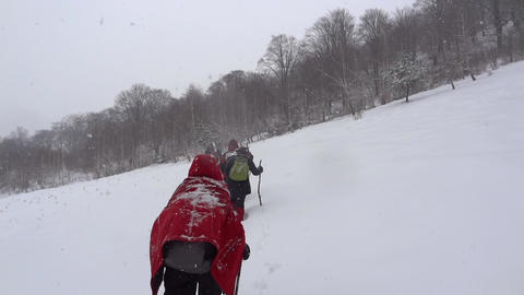 Group of hikers or pilgrims climb a slope that falls snow covered it with a whit Footage