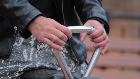 Hands Of A Man Holding A Support While Giving A Swing 82 stock footage