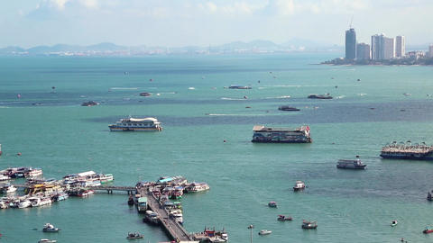 Pattaya city port and Gulf of Siam, Thailand Footage