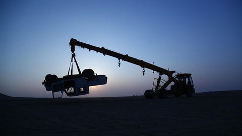 Silhouette of Crane at Desert Footage