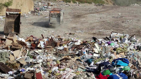 Garbage truck on the dump Footage