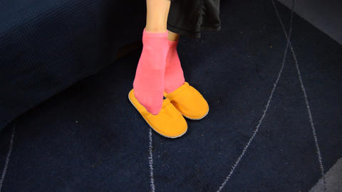 Real Girl Puts on Slippers When Getting Up Live Action