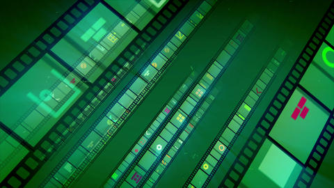 Green Diagonal Film Tape Rolling Animation