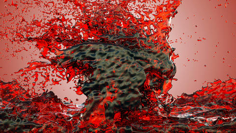 Red ink, Blood splashes, Red liquid Splashing Animation