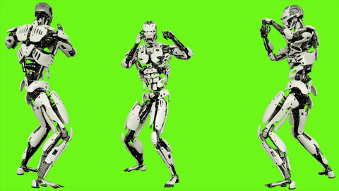 Robot android is shows your fighting skills. Realistic looped motion on green Animation