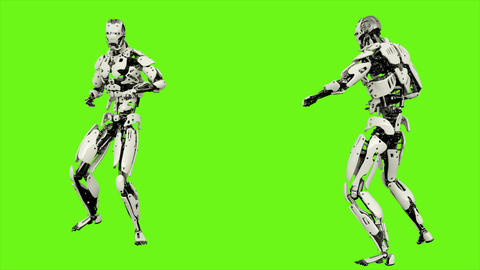 Robot android launches a ball of energy. Realistic looped motion on green screen Animation