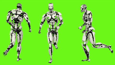 Robot android running. Realistic looped motion on green screen background. 4K Animation