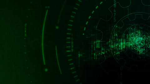Hi-tech digital motion background with technology gear, Stock Animation