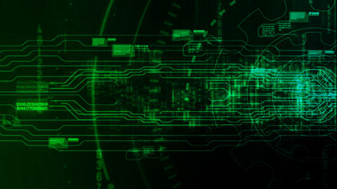 Hi-tech digital motion background with technology gear Animation
