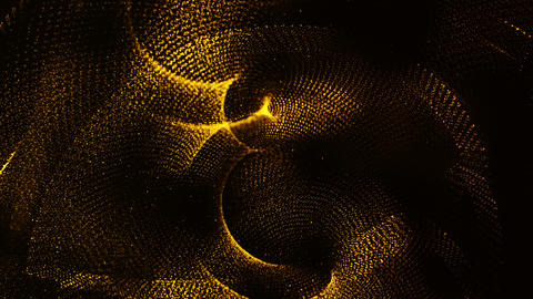 Gold color hi-tech digital particles wave flow and dots for motion abstract Animation