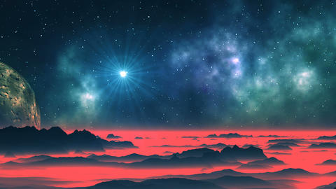 Bright Star, Nebula and Alien Planet Animation
