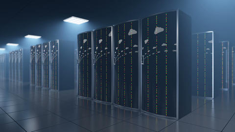 Server room in datastore with clouds reflection Animation