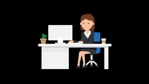 Corporate Woman Working at her Desk Animation